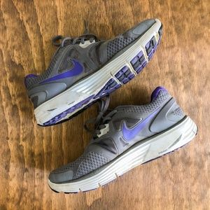 Nike Gray Purple Lunarlon Running Shoe Sneaker 7.5